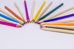 Different color pencils with white background.  Stock Photography