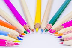 Different color pencils with white background.  Royalty Free Stock Images