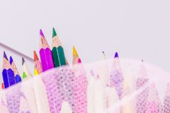 Different color pencils with white background Royalty Free Stock Photo