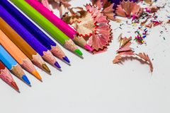 Different color pencils with white background. Different color pencils with leftover on white background Stock Photos