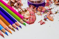 Different color pencils with white background. Different color pencils, sharpener with white background Royalty Free Stock Photo