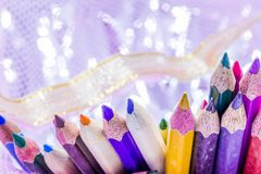 Different color pencils with white background. Different color pencils with white blur background Royalty Free Stock Photography