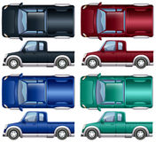 Different color of pick up trucks Royalty Free Stock Photography