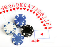 Different color of playing chip and card Stock Images