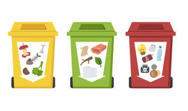 Different color recycle bins Royalty Free Stock Photos