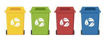 Different color recycle bins Stock Photos