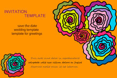 Different color roses invitation. Template invitations of different color roses. For wedding invitations, save the date, birthday and other holiday. Vector Royalty Free Stock Photo