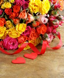 Different color roses (yellow, red, pink) Stock Image