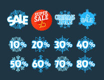 Different color season shopping tags vector clipart. Christmas s Royalty Free Stock Photo