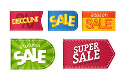 Different color shopping tags vector clipart Royalty Free Stock Photography