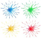 Different color splashes in four colors. Illustration Royalty Free Stock Photos