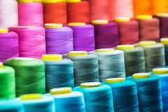 Free Different Color Spools Of Thread For The Textile Industry Royalty Free Stock Photography - 140134137