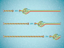 Different color vector progress bars. Illustration o tangled line Stock Photo