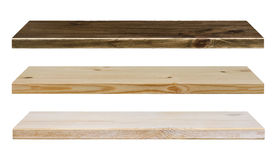 Different color wooden shelves isolated on white Royalty Free Stock Photos