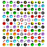 156 different colored arrows, eps10. Set of different colored arrows in different directions, eps10 Royalty Free Stock Image