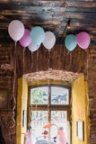 Different colored balloons decoration. Birthday or wedding party Stock Image