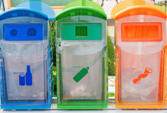 Different Colored Bins For Royalty Free Stock Photography