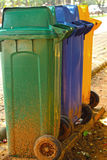 Different Colored Bins For Collection Of Recycle Materials. Stock Photos