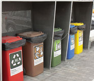 Different Colored Bins For Collection Of Recycle Stock Photo