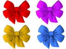 4 different colored bows of cloth Stock Photos