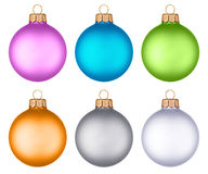Different colored christmas balls hanging Royalty Free Stock Photos