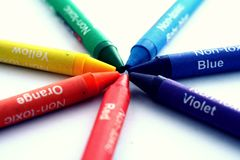 Different Colored Crayons or coloring materials. Photo of different Colored Crayons or coloring materials Royalty Free Stock Photography