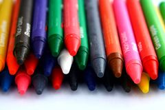 Different Colored Crayons or coloring materials. Photo of different Colored Crayons or coloring materials Stock Image