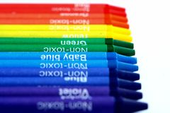 Different Colored Crayons or coloring materials Royalty Free Stock Photography
