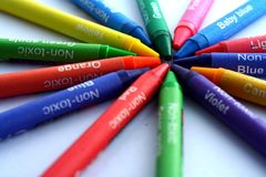 Different Colored Crayons or coloring materials Stock Photos