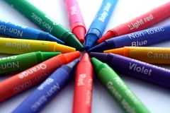 Different Colored Crayons or coloring materials. Photo of different Colored Crayons or coloring materials Stock Photos