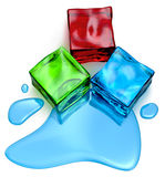 Different colored cube jellies and ice Royalty Free Stock Photo