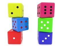 Different colored dice stacked in two columns. In background vector illustration
