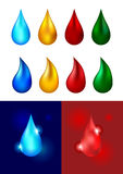 Different colored drops - vector illustration Stock Image