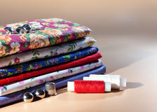 Different colored fabrics: cotton, calico, chintz. Stock Image