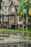 Different colored facades of houses in Toronto stock images