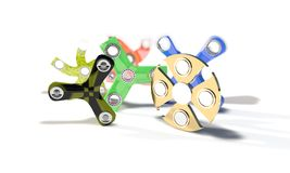 Different colored fidget spinners of background, 3d render. Working Stock Images