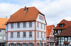 Different colored half-timbered houses Royalty Free Stock Photo