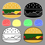 Different Colored Hamburger icons set Stock Photos