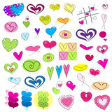 Different colored hearts Stock Images