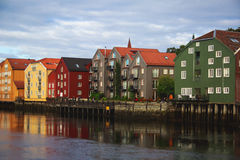A different colored houses in Trondheim, Norway stock images