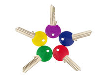 Different colored keys Royalty Free Stock Photos