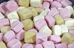 Different colored marshmallow cubes Royalty Free Stock Image