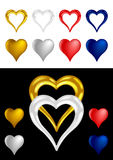 Different colored Metallic Heart Shape Stock Images