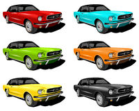 Different colored mustangs. An illustration of red,Cyan,Green,Orange,Yellow and black Mustangs Stock Photo
