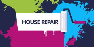 Different colored paints. On the background and the paint brush. Cool colors. House painting and repair concept. Applicable for Banners, Placards, Posters stock illustration