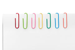 Different colored paperclips Stock Photography