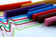 Different Colored Pastels or coloring materials Royalty Free Stock Photo