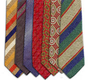 Different colored and patterned ties Stock Photos