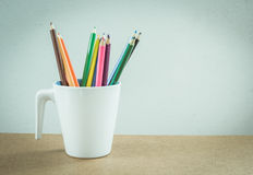 Free Different Colored Pencils In Ceramic Mug Royalty Free Stock Images - 56452779