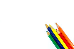 Different colored pencils. On white background Stock Image